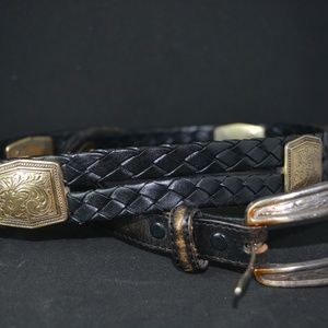 VTG JUSTIN TOP GRAIN LEATHER BRAIDED BELT w/CONCHO
